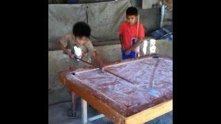 Pool Chalk - Kids playing chalk-pool in Coron, Palawan, Philippines