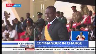 Commander in charge: President Uhuru wears full military uniform for the first time