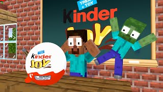 Monster School : Kinder Joy Unboxing Challenge - Minecraft Animation