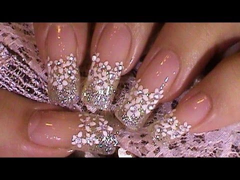 Winter Wedding White Bridal Nail Art Design Tutorial