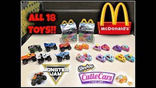Mcdonalds Monster Jam! Shopkins Cutie Cars! Happy Meal Toys! Jan 2019! All 18 Toys!