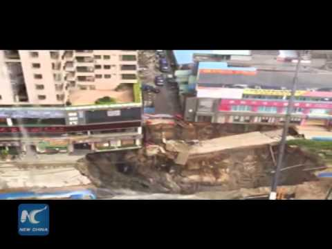 Moment of land collapse in S China city