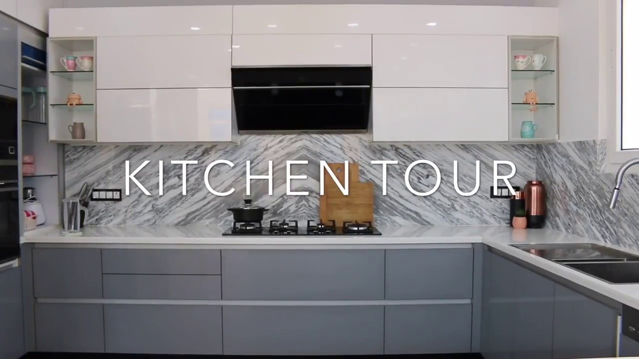 Modular Kitchen Upper Cabinets Kitchen Tour Indian Kitchen Tour Modular Kitchen Grey White Kitchen Indian Organised Kitchen Tour