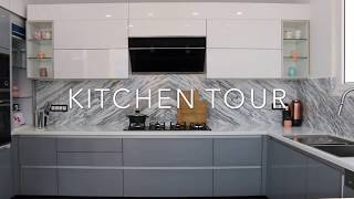 KITCHEN TOUR /Indian kitchen tour/Modular kitchen /grey,white kitchen/Indian organised kitchen tour