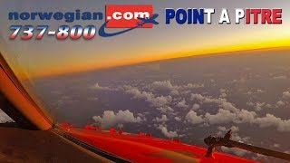 Pilotsview BOEING 737 Sunset into Guadeloupe
