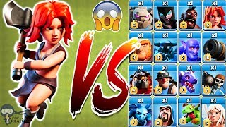 Max Valkyrie vs All troops Clash of Clans Gameplay | Max Valk vs Every single troop COC
