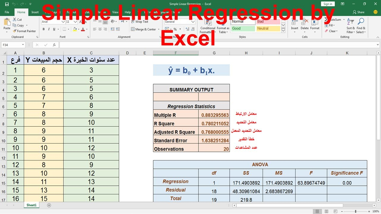 Simple Linear Regression by Excel - YouTube