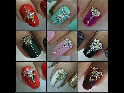 Стразы на ногтях дизайн