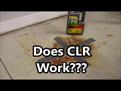 Concrete rust stain cleaning test 1 of 4 does clr calcium for Remove oil from concrete floor