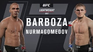 EA Sports UFC 2 - Edson Barboza vs Khabib Nurmagomedov UFC 219 Full Fight Simulation