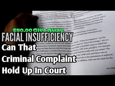 FACIAL INSUFFICIENCY - Can The Criminal Complaint Against Yo