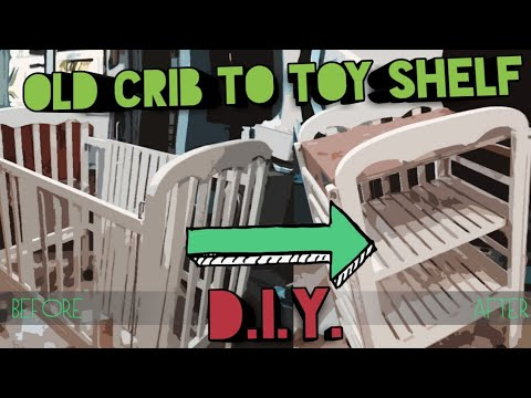 DIY | CONVERTING OLD WOODEN CRIB TO TOY SHELF