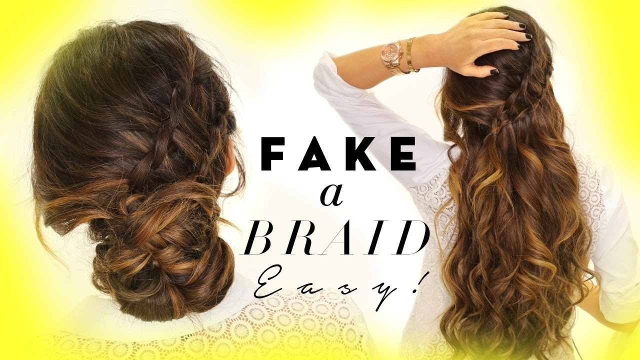 3-Minute EASY HAIRSTYLES | Fake Ladder-Braid for Long ...