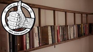 DIY Deko Bücherregal selber machen Leiterregal selber bauen Anleitung