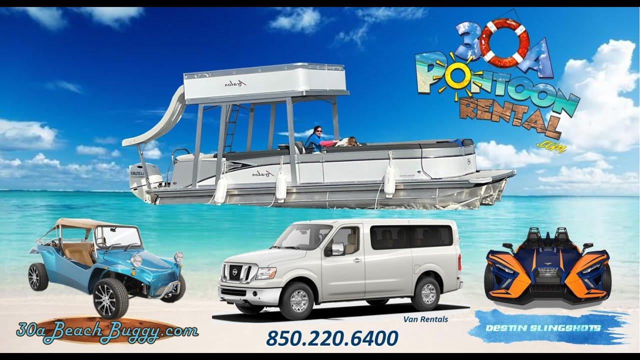 Pontoon Rentals, Slingshot Rentals, Beach Buggy Rentals, and Van Shuttle Services