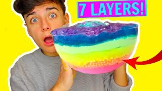 GIANT 7 LAYERS OF SLIME! MIXING ALL MY FLUFF, CRUNCHY, CLOUD SLIME! DIY SLIMESMOOTHIE!