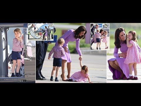 Prince George smiles but Princess Charlotte takes a tumble at Hamburg Airport