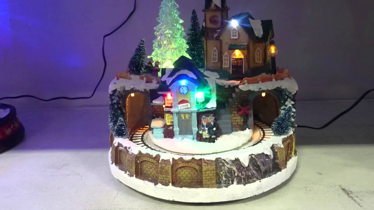 Light Up Christmas Musical Village Moving Train Scene Motion Music You