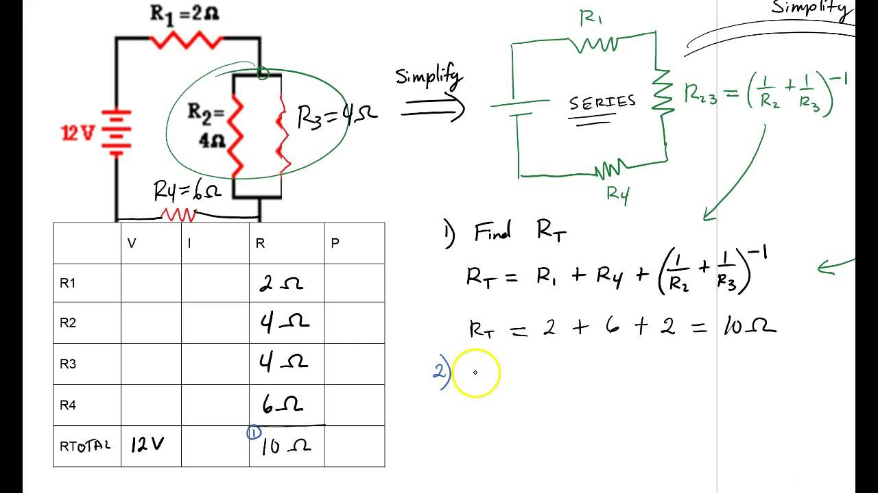 combination circuit problems youtube rh youtube com Series Parallel Circuit Tutorial Solving Complex Series Parallel Circuits