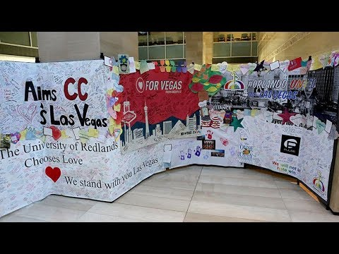 Healing words from across the globe make up Hearts for Vegas display