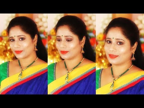Navratri Makeup Look 2018 | Indian Festive Makeup Tutorial In Telugu