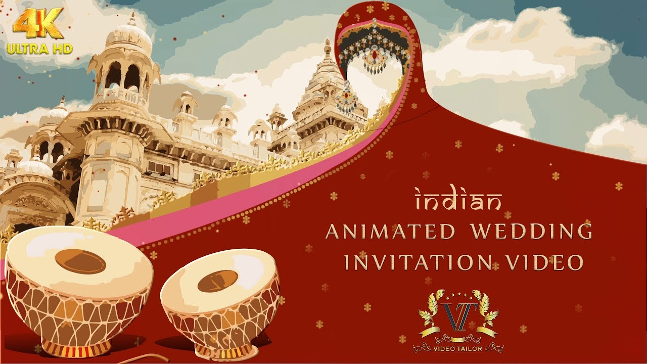 Indian Animated Wedding Invitation Video Without Pictures : VTSD029 YouTube