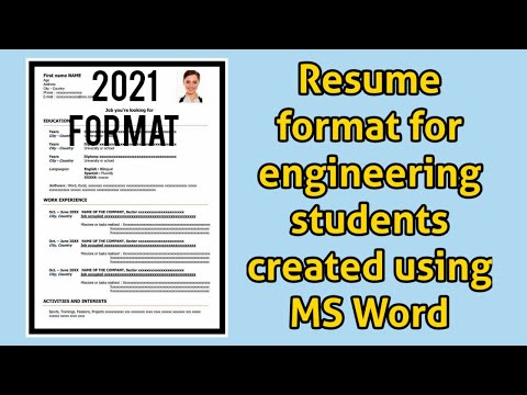 Resume Format For Engineering Students | Perfect Resume For BE BTech Graduates Created Using MS Word