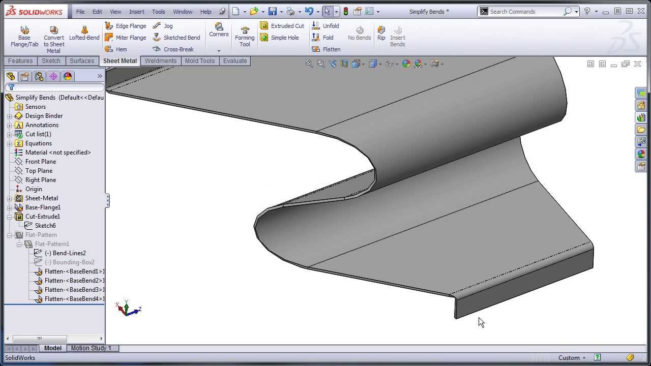 Solidworks Sheet Metal Normal Cuts And Simplify Bends