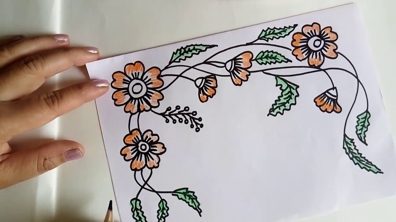Project File Design Decorating School Notebooks Flower Drawing For Beginners