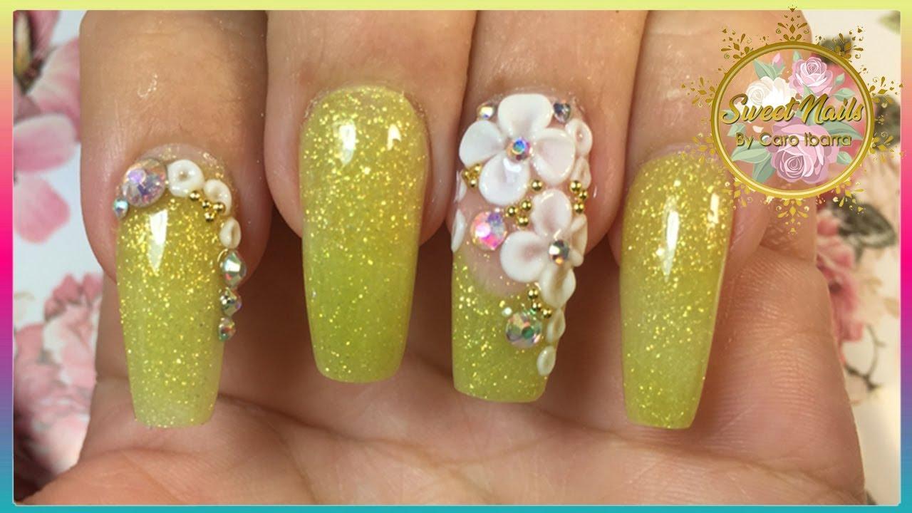 Diseño De Uñas Acrilicas Amarillas Guia De Flores Paso A Paso