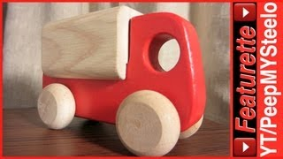 Red Truck Toy For Baby & Toddler Kids Like Trash Dump Or Semi Trucks W/ Single Wood Trailer