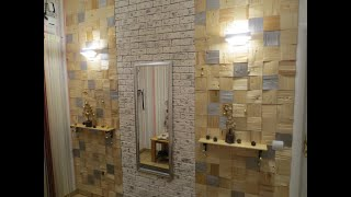 DIY Designer Wand mit Holz und Klinker verkleiden Selbstgemacht Wandlampenmontage Wandregale