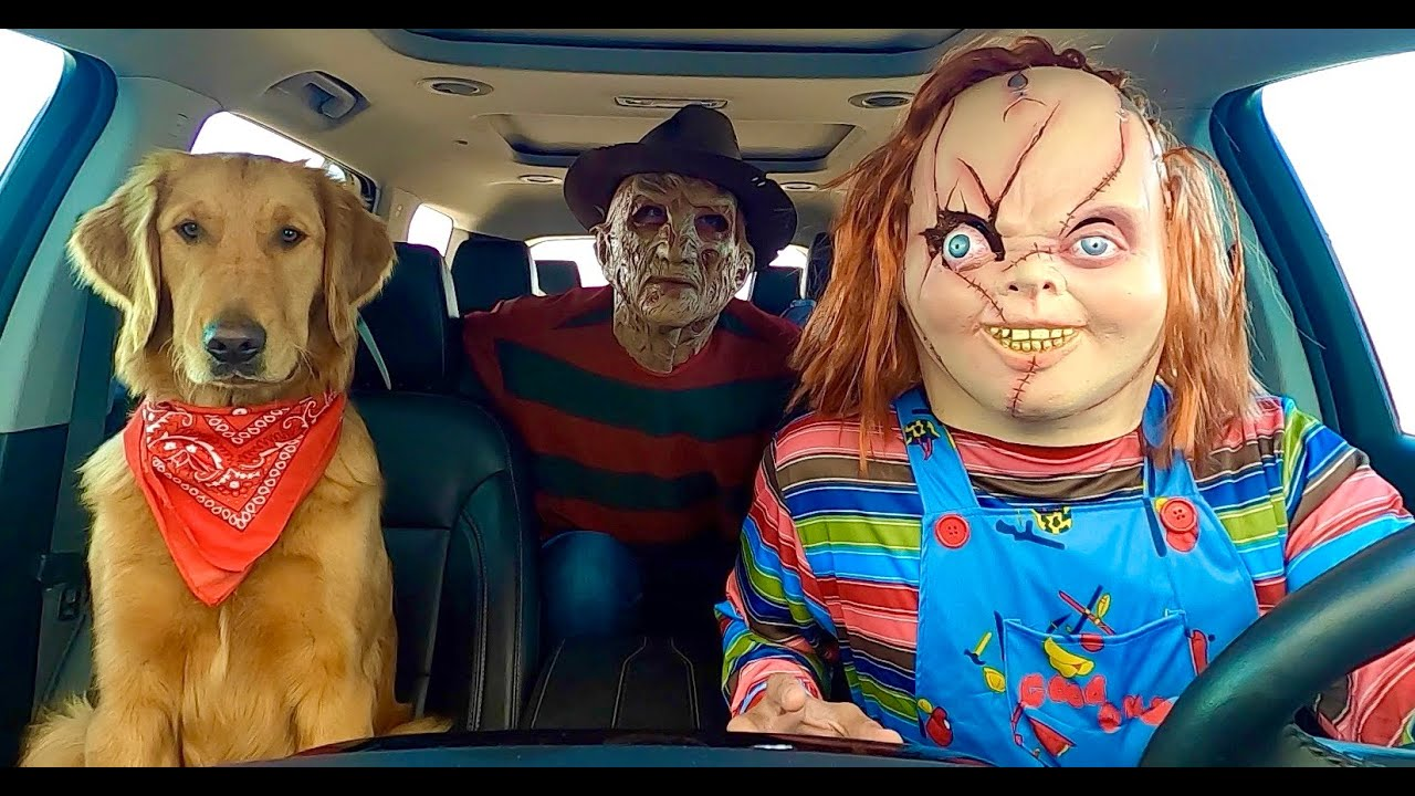 Chucky Surprises Puppy with Car Ride Chase!