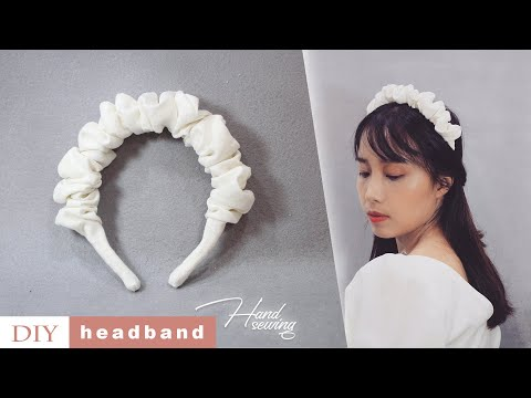 DIY White Scrunchies HEADBAND 💕  Handmade Linen Hair Accessories | Hand Sewing | TUTORIAL - YouTube
