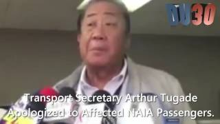 Trans . Sec . Tugade apologized to Pres. Duterte and the NAIA passengers .