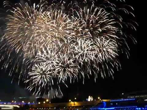 Fireworks in Moscow on Red square. Kremlin. City day 2014.