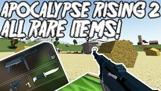 APOCALYPSE RISING 2 - ALL RARE ITEMS! | WEAPONS AND CLOTHES (ROBLOX)