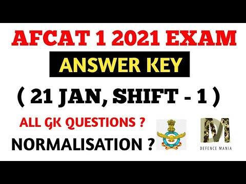 ( 21 FEB , SHIFT-1 ) AFCAT 1 2021 ANSWER KEY - AFCAT 1 2021 PAPER ANALYSIS