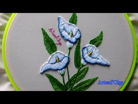 Hand Embroidery: Calla Lily Flower  Bordados a mano: Flor de Cala  ArtesdOlga
