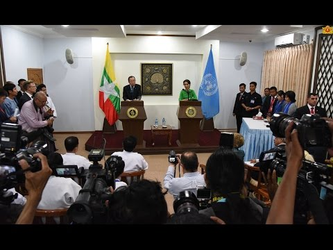UN Chief Press Conference in Naypyidaw Myanmar