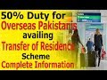 50% Duty for Overseas Pakistanis availing Transfer of Residence Scheme (How to get it Complete Info)
