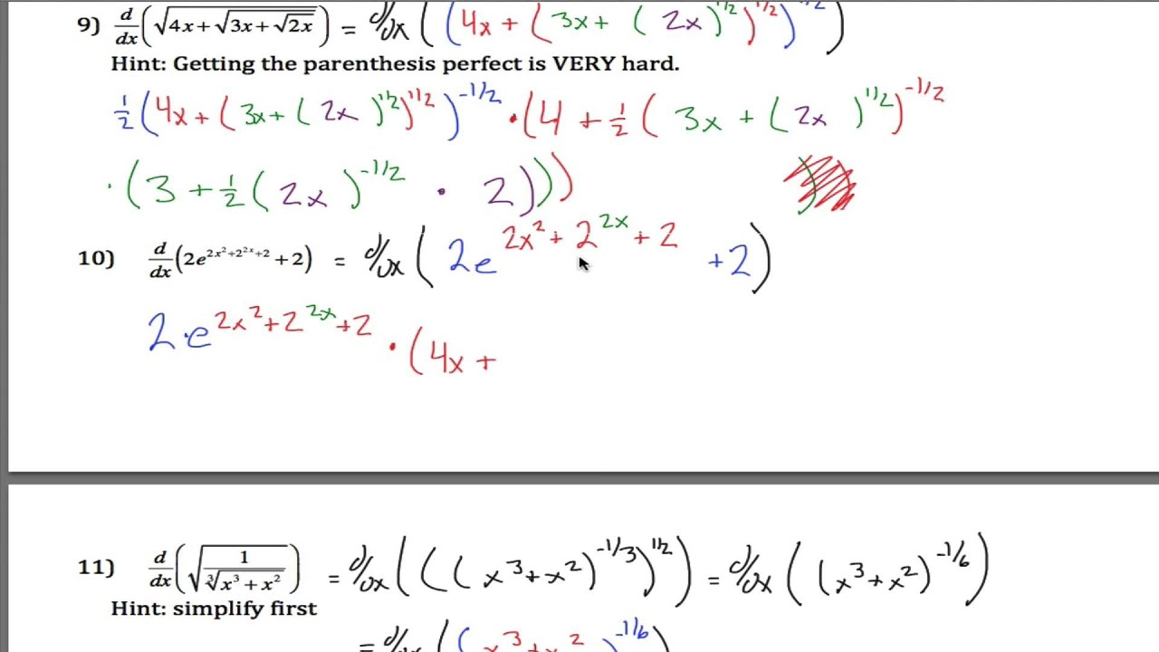Very Hard Chain Rule Examples