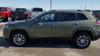 SOLD! 9J16A 2019 JEEP CHEROKEE LATITUDE PLUS OLIVE GREEN WALK AROUND FOND DU LAC www.SUMMITAUTO.com