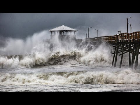 Waves slam Oceanana Pier in Atlantic Beach as Hurricane Florence approaches