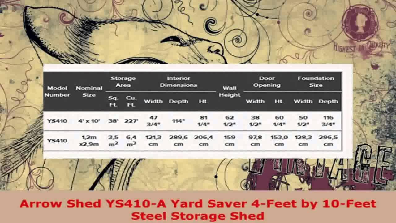 Arrow Shed YS410 A Yard Saver 4 Feet By 10 Feet Steel Storage Shed