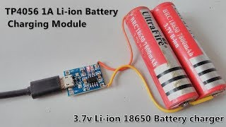 3.7v Li-ion 18650 Battery Charger Module - TP4056 / Micro USB Interface