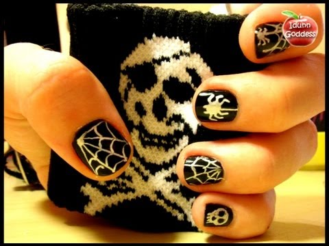 halloween gothic style nail art with gel pens   easy
