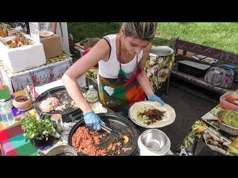 Preparing Burritos at Street Food Market Mokotow in Warsaw, Poland. Street Food