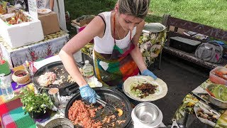 Preparing Burritos at Street Food Market Mokotow in Warsaw, Poland. Street Food