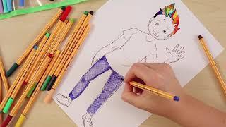 تعلم رسم صبي بأقلام ستابيلو بوينت 88